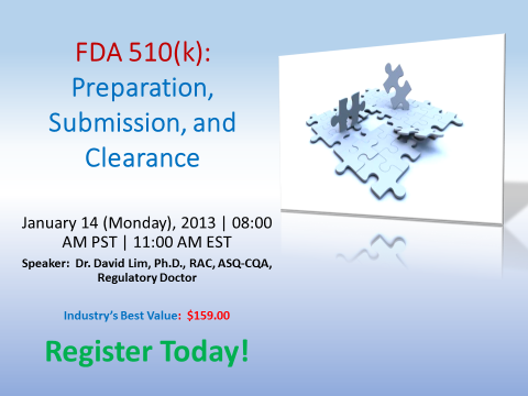 FDA 510(k) LIVE Online Seminar