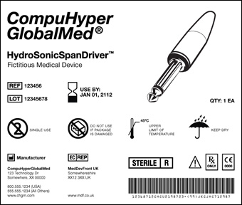 Example of what a universal device identifier (UDI) would look like on a medical device label. The label contains information about the product name, its expiration date, reference and lot numbers, manufacturer information, bar code, details about the item, and an illustration of the item.